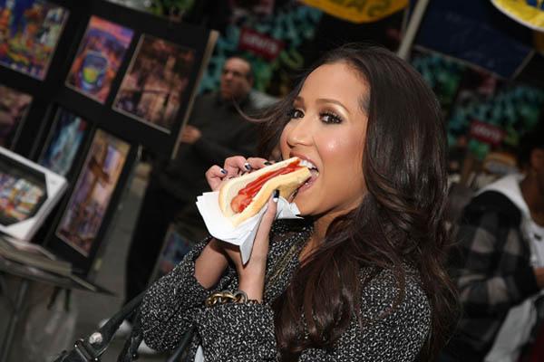 sensational woman is eating hotdog and getting banged  348490