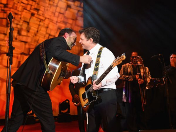 NEW YORK, NY - NOVEMBER 12:  (EXCLUSIVE COVERAGE)  Dave Matthews and Michael J. Fox perform onstage at Michael J. Fox Foundation's 'A Funny Thing Happened On The Way To Cure Parkinson's' gala at The Waldorf=Astoria on November 12, 2016 in New York City.  (Photo by Jamie McCarthy/MJF2016/Getty Images)